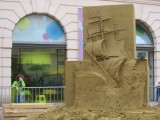 a sand sculpture taking shape