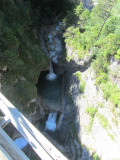 the falls in the gorge below the bridge