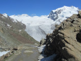 a last view out and down at the glaciers