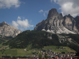 heading east out of the Italian Val di Gardena, the Dolomites keep watch