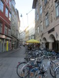 continuing in the old town; bicycles are popular...