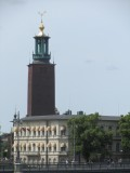 a long view toward Stadshuset (city hall)