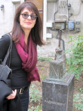 in the scupture park, Marla checks out Rabinovich the tailor