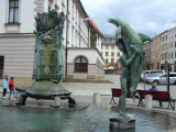 Olomouc is also known for fountains; there are several on this square alone