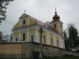 here's the Catholic church, recently repaired after damage during Communist times