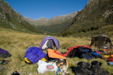 Campsite in flats of Arcade Creek - drying gear out