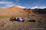 Tents up in Red Hills, barren landscape