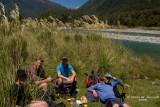 lunchbreak alongside Cascade River at McKay Creek Junction