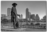 Stevie Ray Vaugh Statue, Zilker Park, Austin Skyline