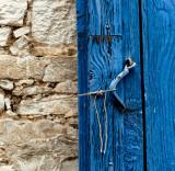 Blue door and string