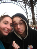 shivering while standing in line to climb the Eiffel Tower stairs