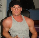 Hairymen Wearing Tanktops Lycra Singlets and Speedos featuring Old and young fat and muscular