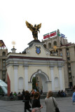 Treachery Gate in Independence Square & statue of Archangel Michael, the patron saint of Kiev.