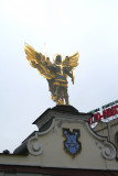 Close-up of the statue of Archangel Michael, the patron saint of Kiev.