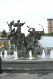 Fountain and monument at Independence Square of the mythical founders of Kiev.