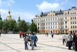 People strolling in Bogdan Khmelnitsky Square.