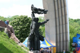 An interesting angle of the sculpture next to Peoples' Friendship Monument.