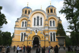 Saint Volodymyr's Cathedral is located across from the Kiev Botanical Gardens.