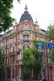 View of the ornate building at 39 Volodymyrska Street (built 1900-1901).