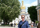 Me (with a sunburn on my neck) in front of the rebuilt Dormition Cathedral at the Pechersk.