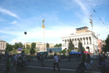 People milling around Independence Square celebrating the Europe Day holiday weekend.