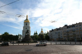 View of Bell tower of Saint Sophia Cathedral as seen in from Boghdan Khmelnitsky Square.