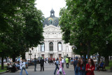 View of the Lviv Opera & Ballet House approaching from the park.