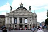 Close-up of the Lviv Opera & Ballet House.