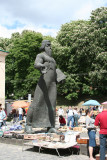 Flea market & Ivan Fedoriv statue. He printed the first book (Lviv's equivalent to Gutenberg).