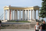 Classical-style colonnade of the Vorontsov's Palace on the bluff above the harbor in Odessa.