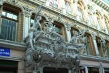 Sculptural details inside the Passage Mall.