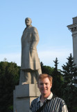 Me posing in front of the statue of Lenin.