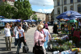 Shoppers at Lviv's Ploshcha Rynok (Old Market Square).