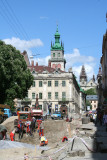 Major renovation going on in Lviv (the Kornyak Tower is in the far background).