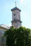 Close-up of the clock tower of the Town Hall.