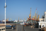 Docked ships and cargo cranes at the Odessa harbor.