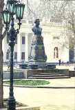 Photo (taken from a postcard) of the Monument of Aleksandr Pushkin. This monument was built by citizens of Odessa.