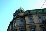 An impressive rooftop on a building on Prospekt Svobody near the Grand Hotel.