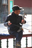 Close-up of one of the musicians with an unusual Chinese stringed instrument.
