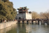 The Culture Pavilion with the red Seventeen-Arch Bridge on Kunming Lake at the Summer Palace.