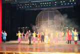 Smoke on stage.  Acrobatic competitions in China contribute to its popularity there.