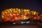 A night view of the Beijing National Stadium, known as the Bird's Nest Stadium, which was built for the 2008 Beijing Olympics.