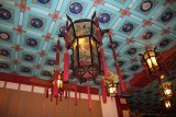 Exquisite ceiling and lantern in the silk factory.