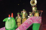Victor was riding with a troupe of musicians.