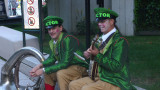 Strange musicians at the Just for Laughs festival. Don't you love the buck teeth?