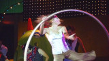This girl was spinning a hoop.