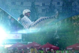 The human cannonball as he landed in a net after being shot through the air.
