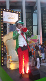 This man was blowing his plastic trumpet to announce the World of Victor (the mascot of the Just for Laughs festival).