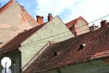 Typical tiled roofs in Brasov.