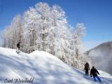 Skiers & boarders on SkiDenton's backcountry